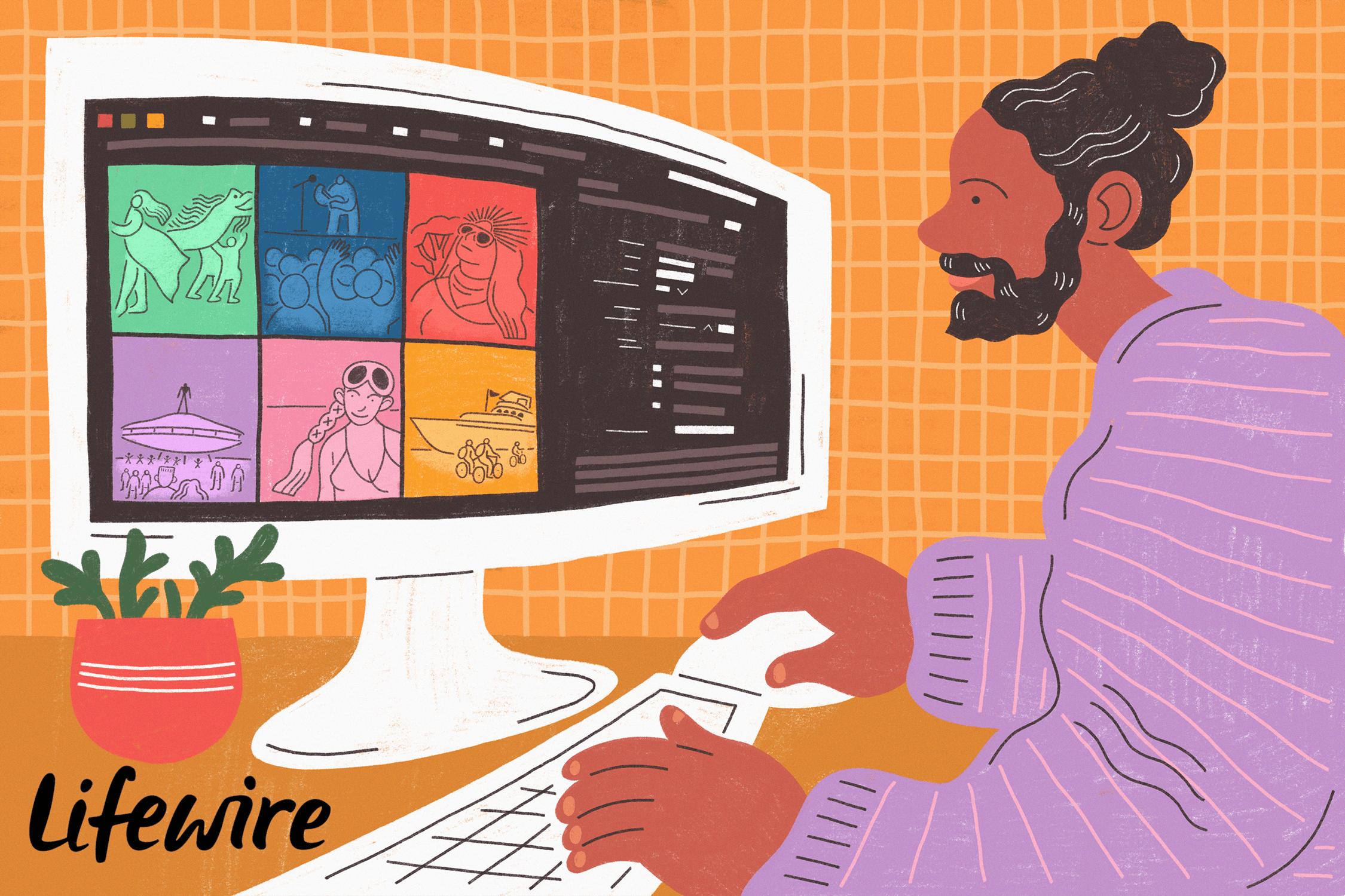Person using Adobe Bridge on a computer.