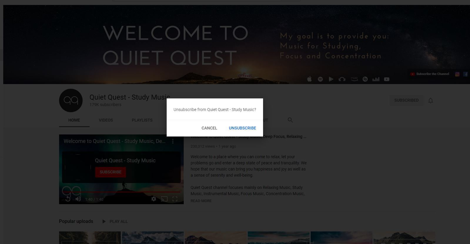 Unsubscribe box on YouTube