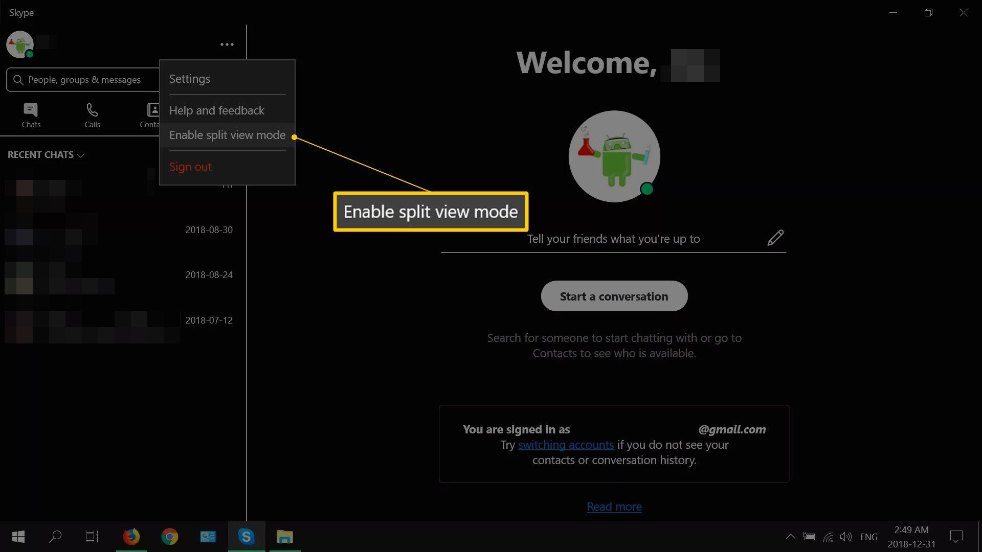 Enable split view mode in Skype's main menu