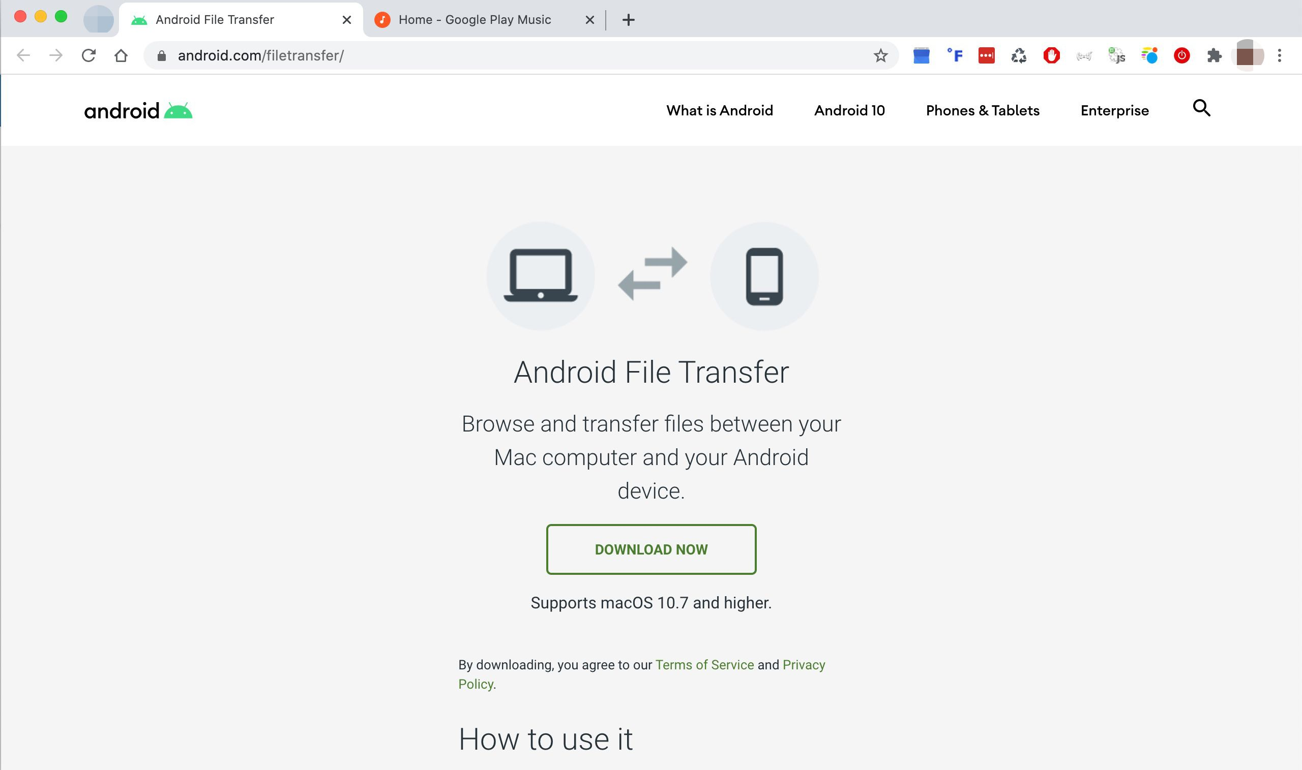 Android File Transfer website