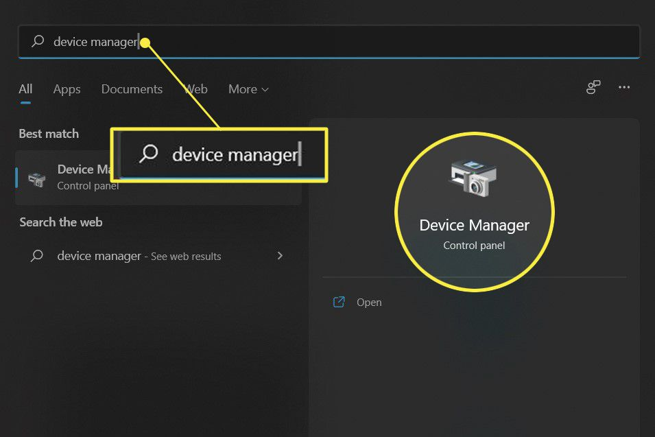 Windows Start menu device manager highlighted in search and results.