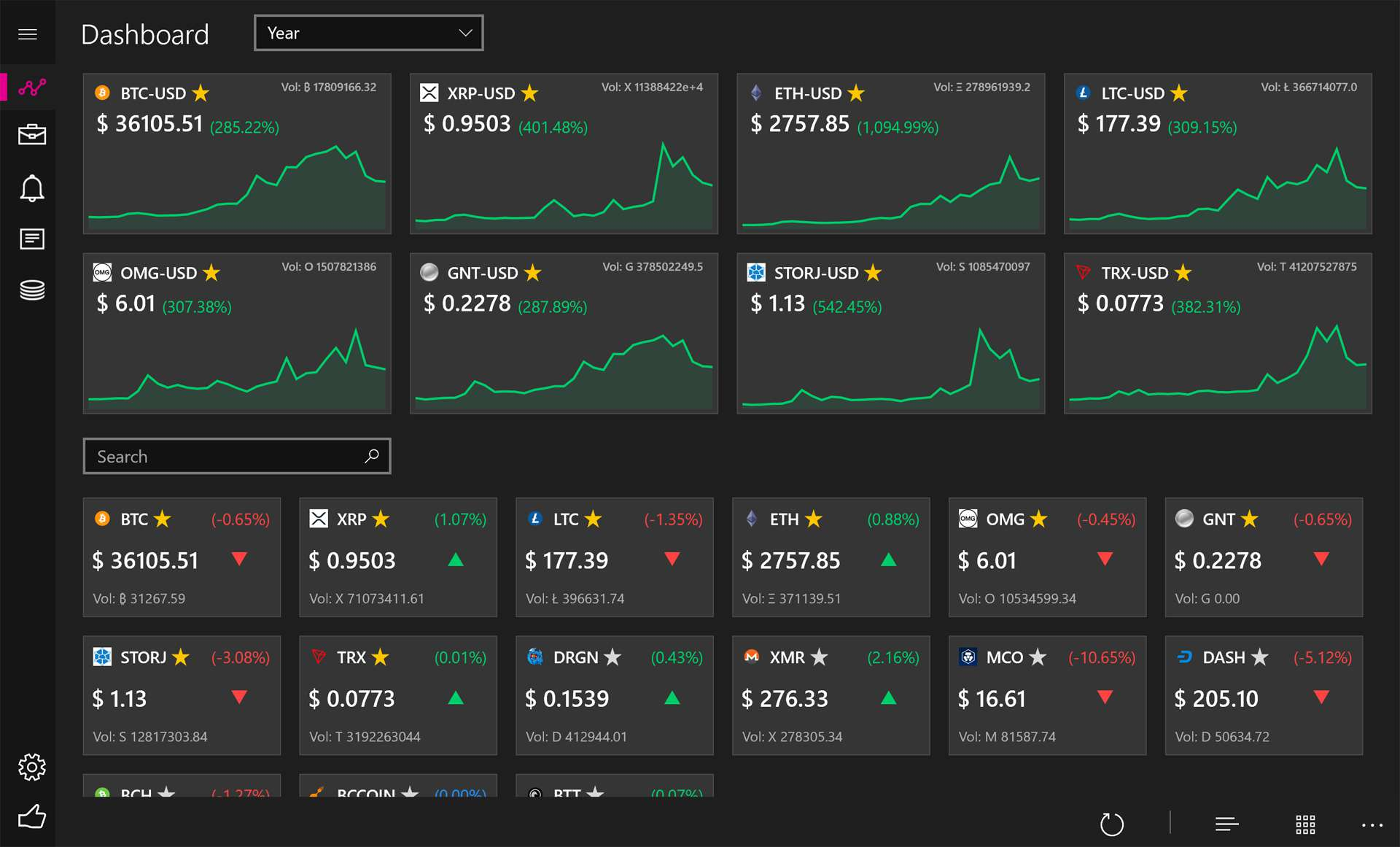 Windows 10 Crypto Chart cryptocurrency app on Surface.