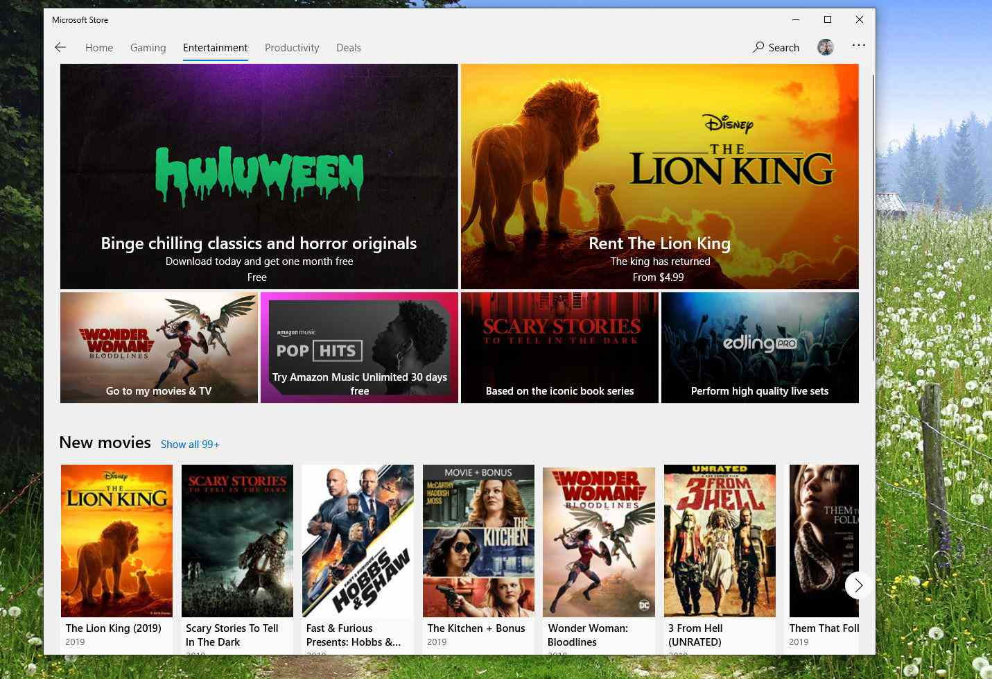 Screenshot of Entertainment category in Microsoft Store