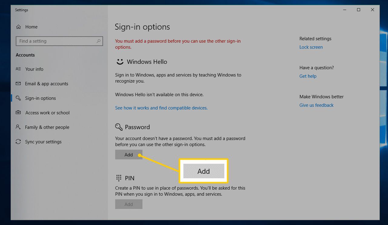 Add button in Sign-in options