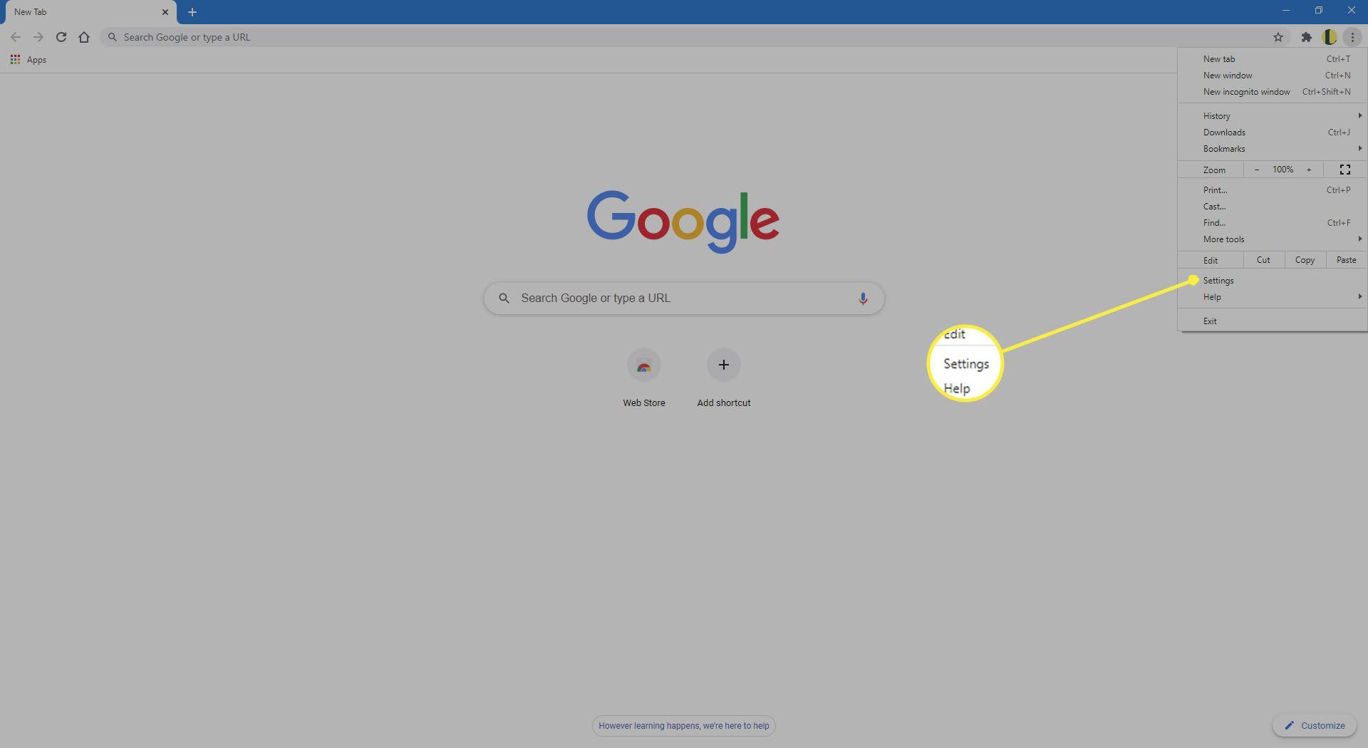 Chrome menu showing Settings location