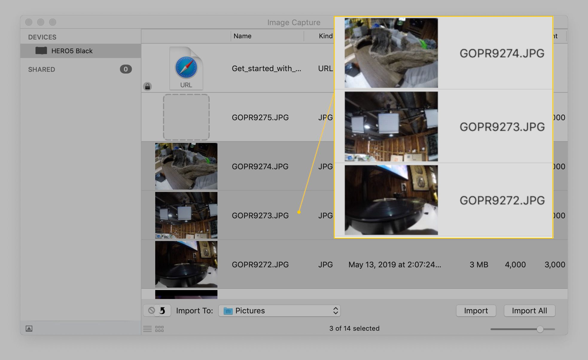 Screenshot of multiple selected images in Image Capture.