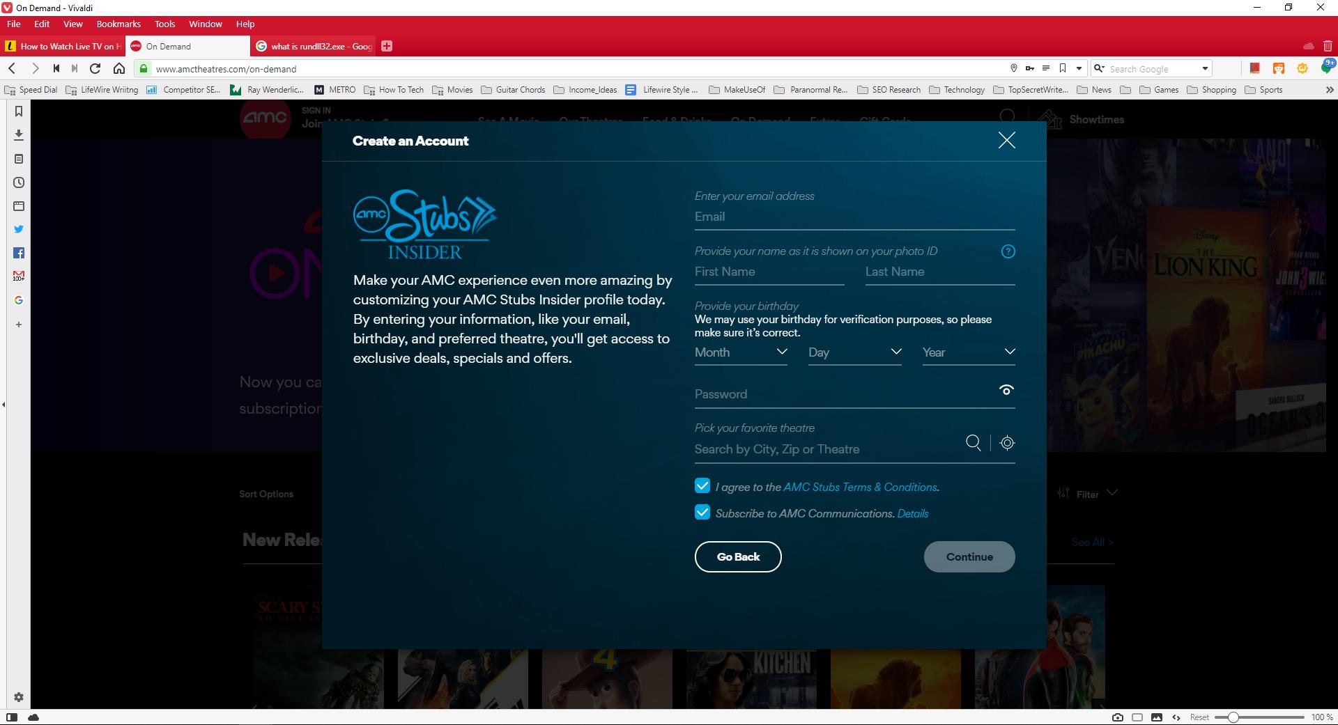 Screenshot of creating Stubs insider membership