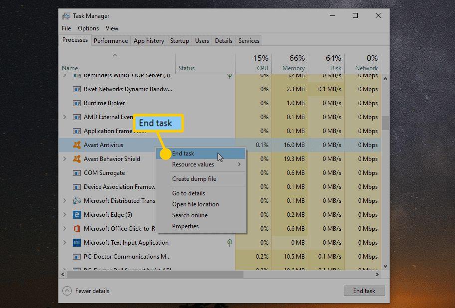 Screenshot of disabling the Avast Antivirus task in Windows Task Manager.