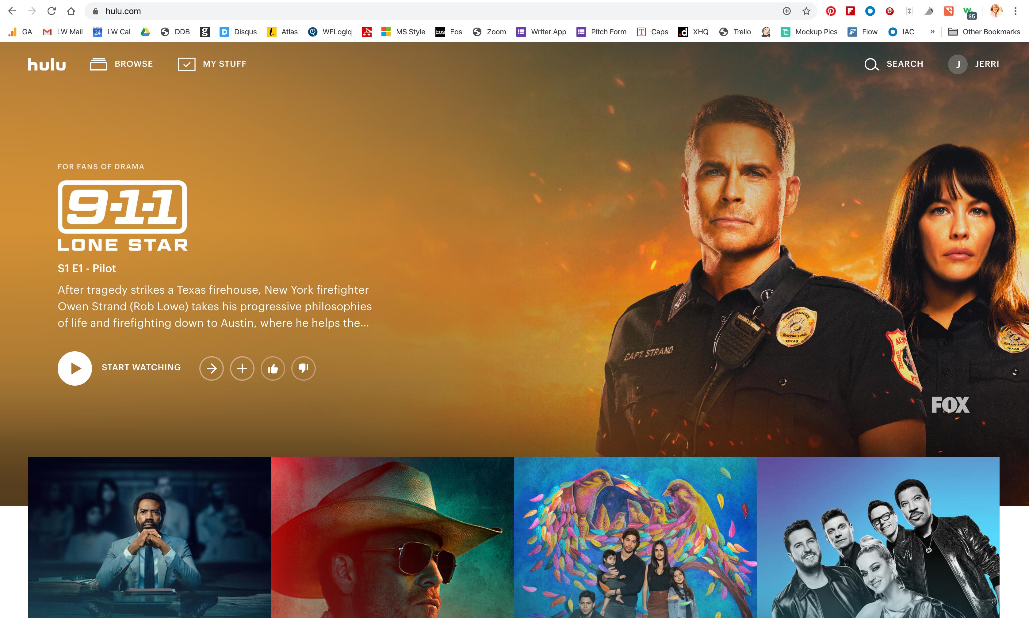 A screenshot of the Hulu welcome screen.