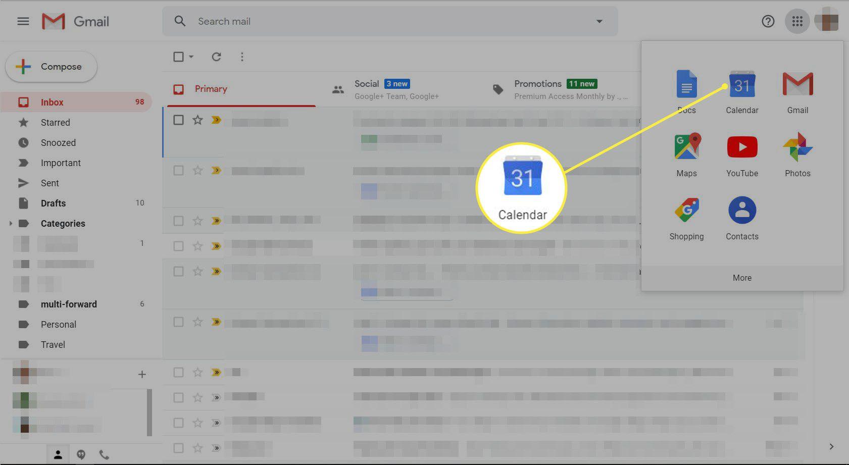 Gmail with Google menu displayed.