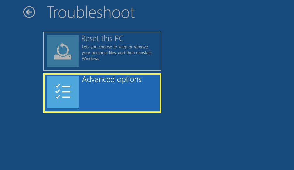 Windows 10 Advanced Startup Options screen.