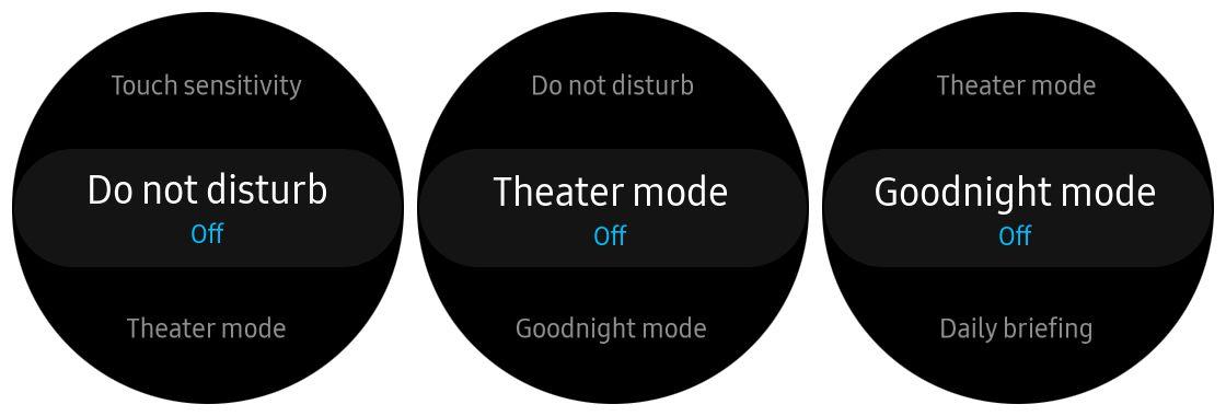 Screenshots of Samsung Gear S3 modes
