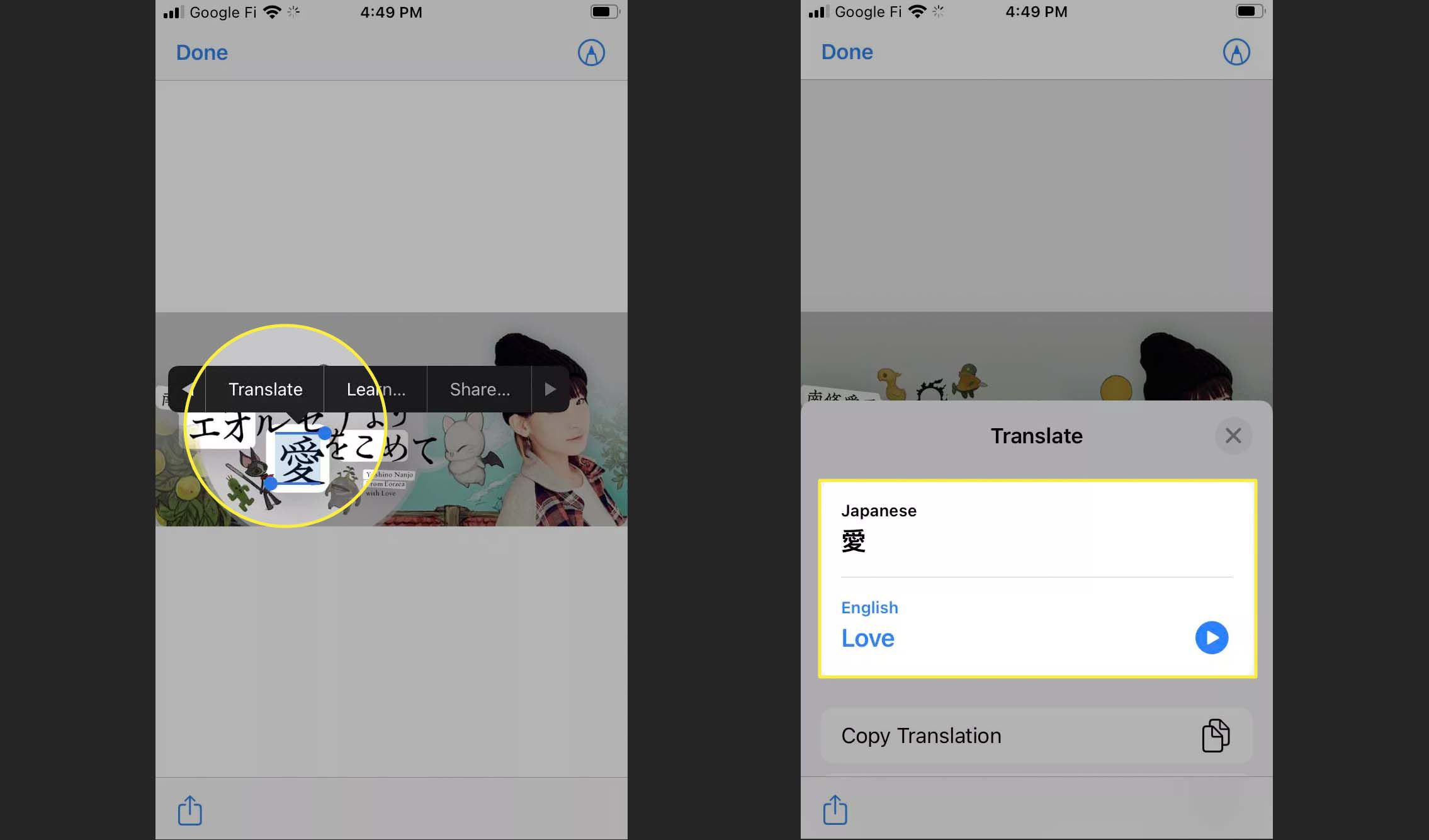 Translate highlighted in Safari Live Text.