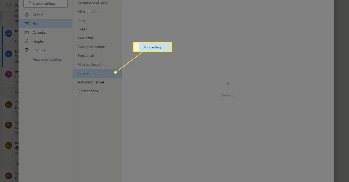 Mail > Forwarding in Outlook.com settings