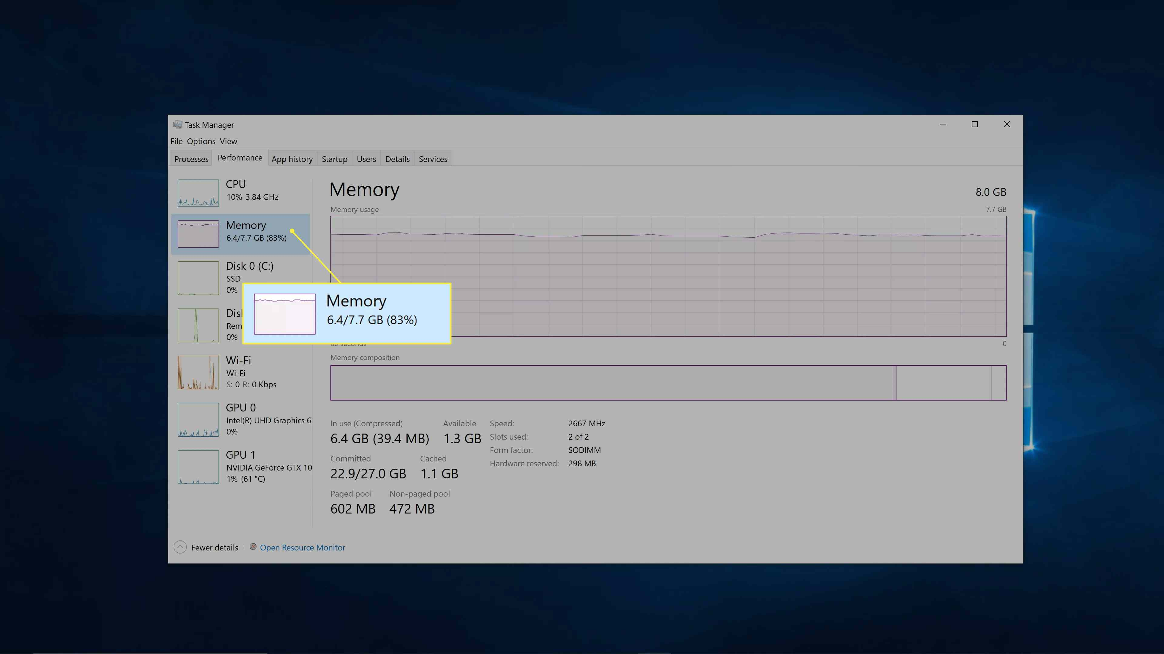 Windows 10 memory specs.
