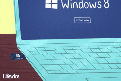 WIndows 8 on a laptop with a USB drive