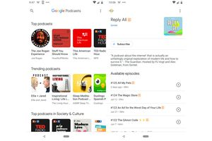 Screenshots of Google Podcasts app, showing a list of podcasts, and a list of episodes