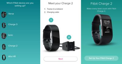 Screenshots from the Fitbit Android App showing the setup process for the Fitbit Charge 2