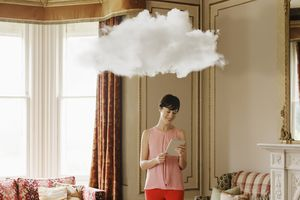 Woman in living room with cloud above head