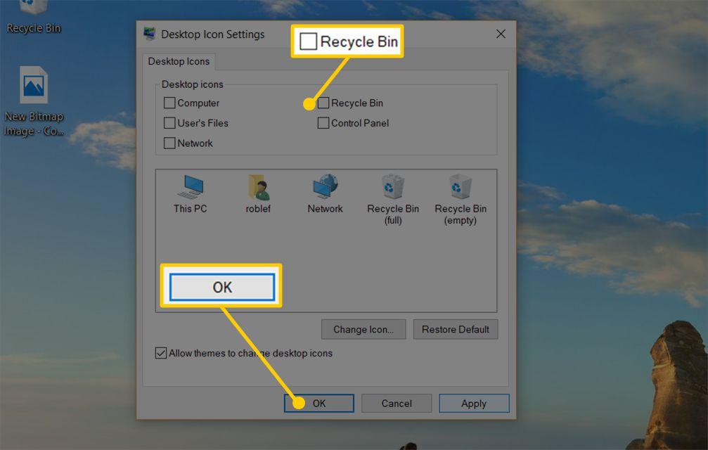 Screenshot of Desktop Icon Settings window in Windows 10, showing Recycle Bin checkbox and OK button