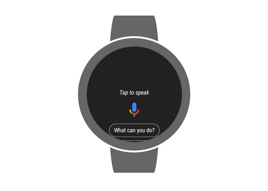 Google Voice displayed in Wear OS 2.0.