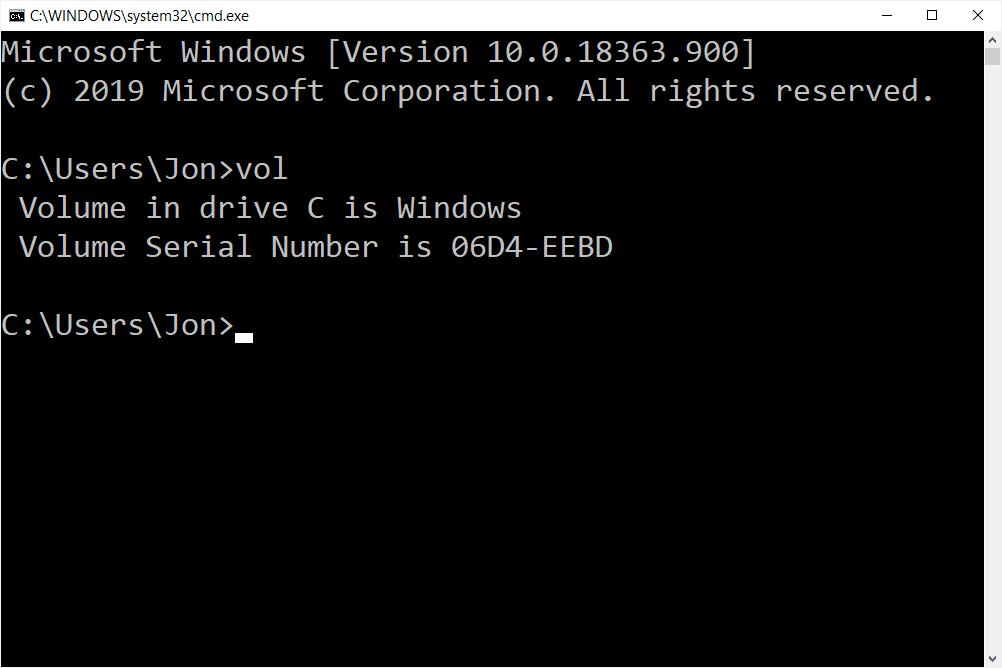 VOL command in Windows 10