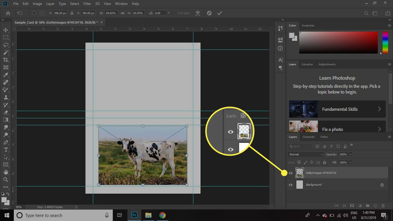 A screenshot of Photoshop with the Layer Visibility button highlighted