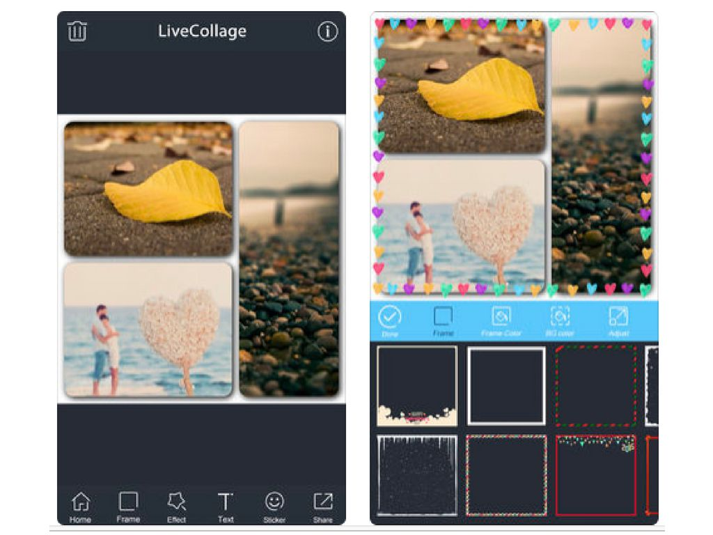Screenshots of Collage Maker ~ app on an iPhone.