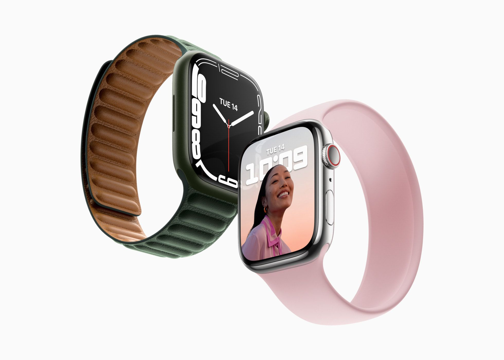 A product image of two Apple Watches, Series 7.