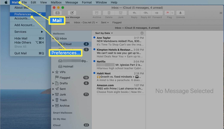 Mac Mail menu bar showing Preferences option