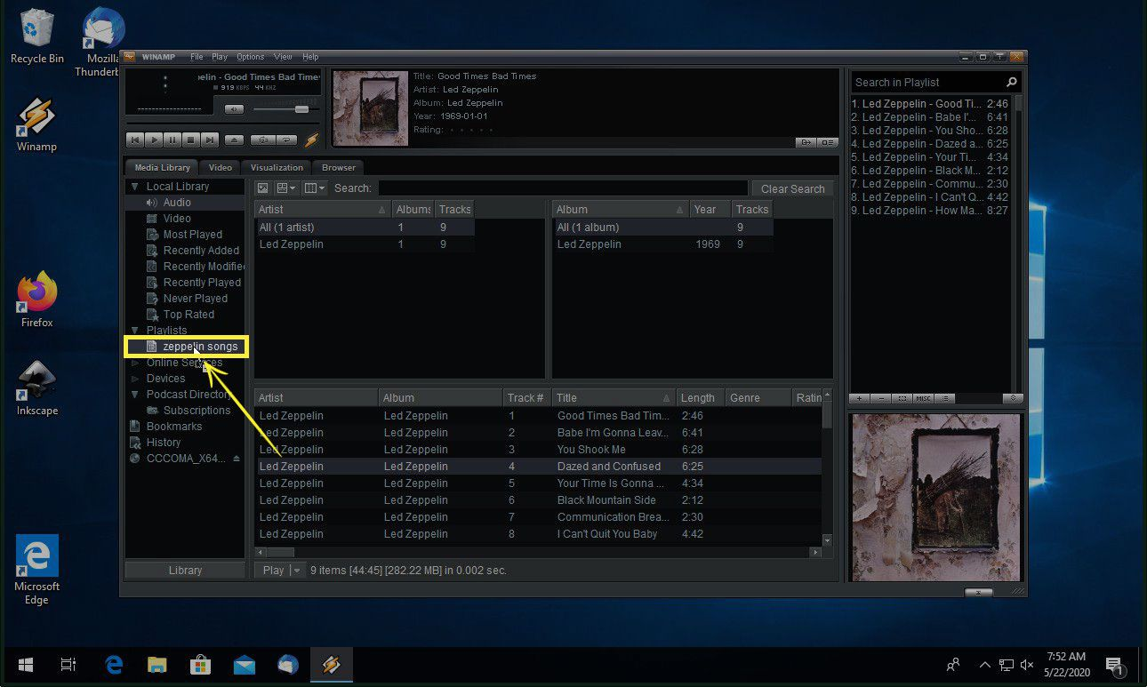 Dragging a song from the media window to a playlist in Winamp
