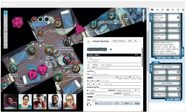 A Pathfinder gaming session hosted on Roll20