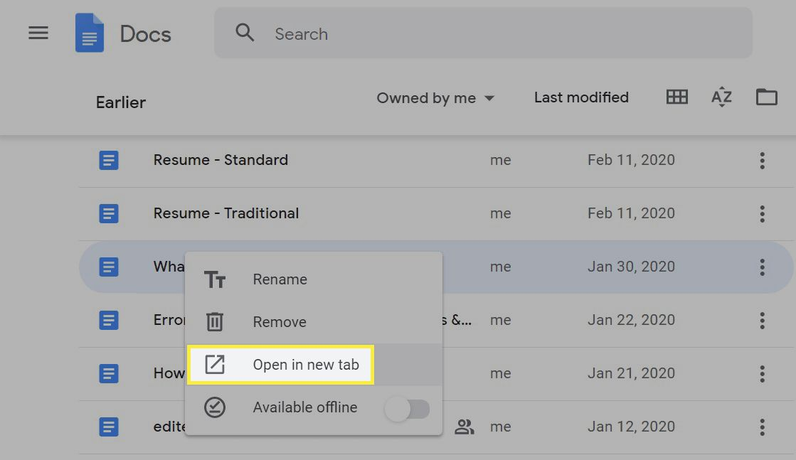 Opening a doc in a new tab in Google Docs.