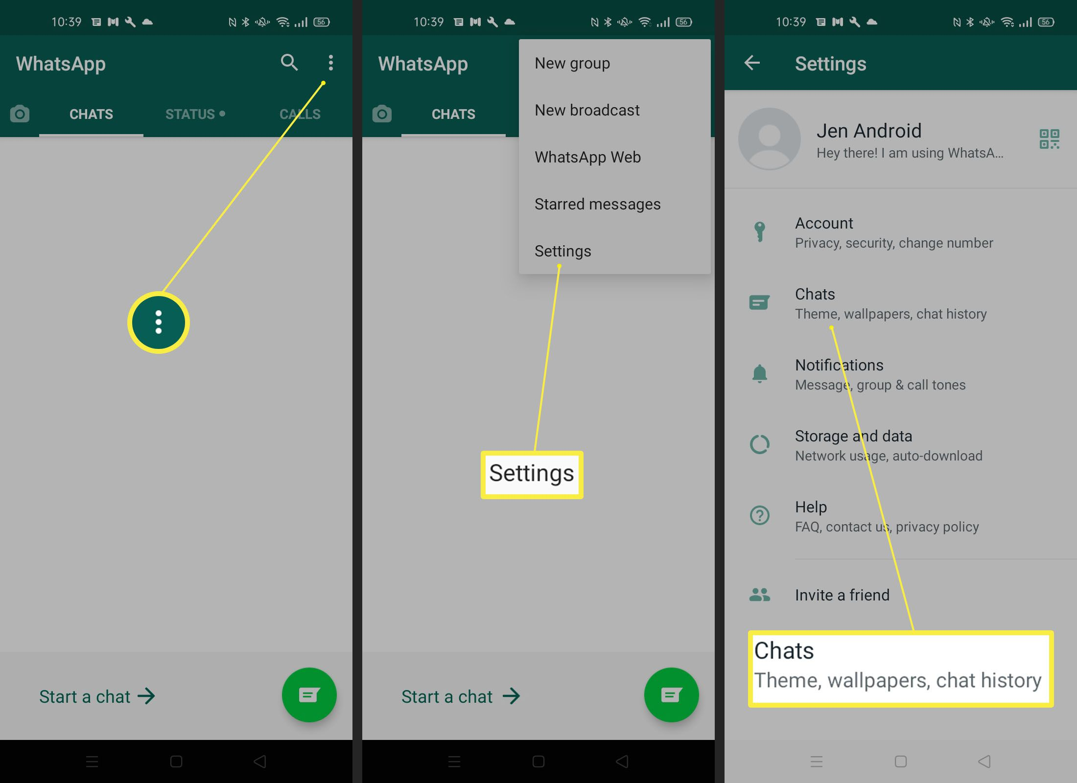 Steps needed to find Chat wallpaper settings on WhatsApp Android