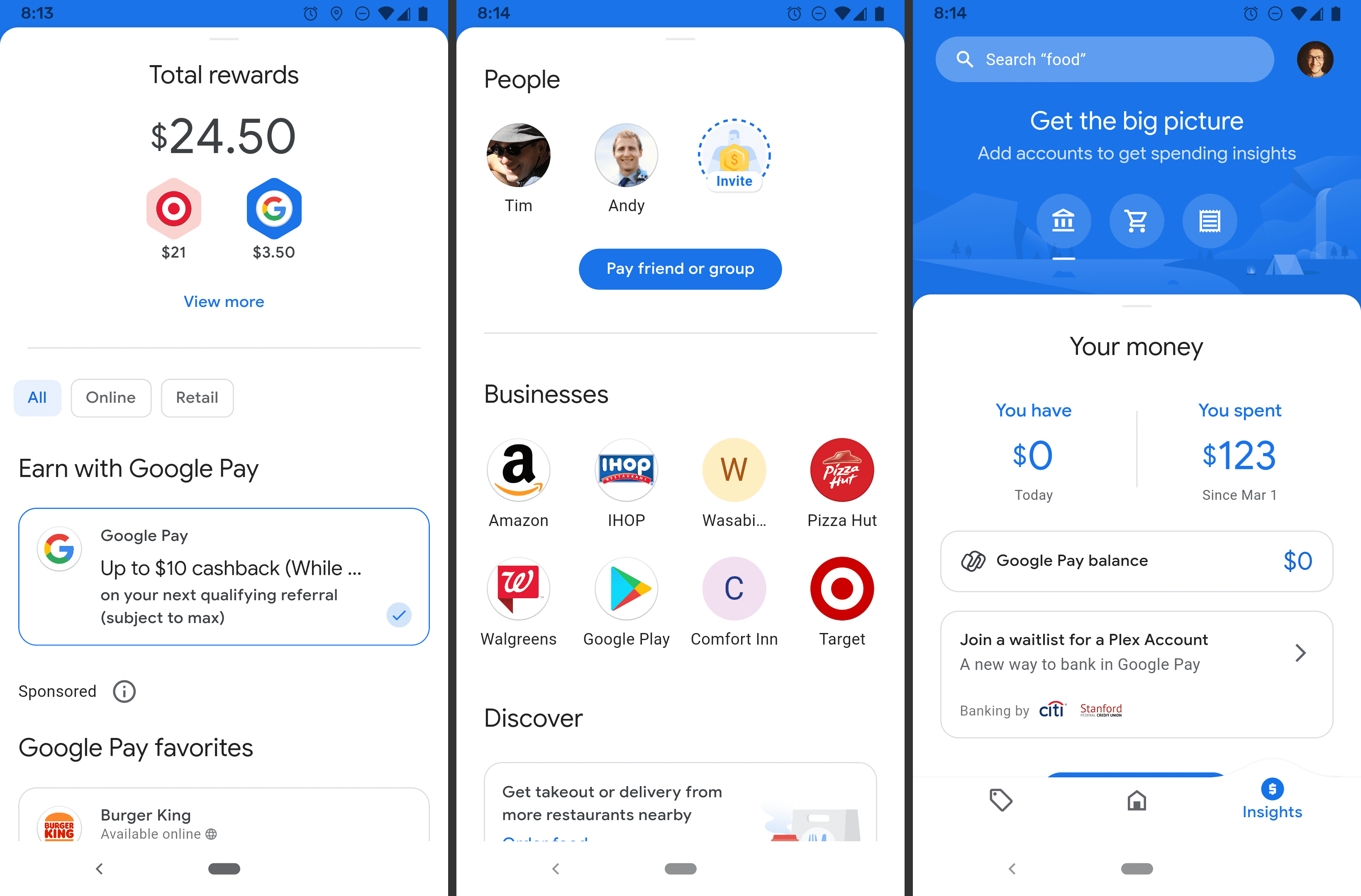 Google Pay rewards, businesses, and money screens on Android app