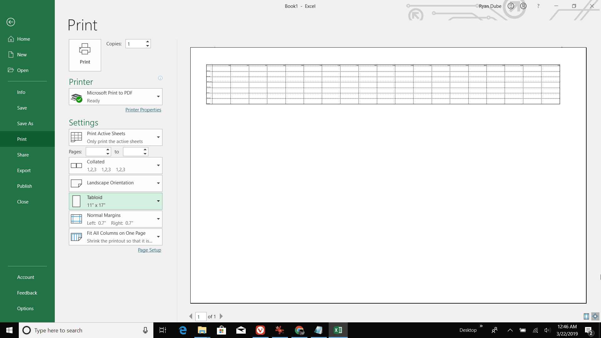 Screenshot of printing out the daily agenda in Excel