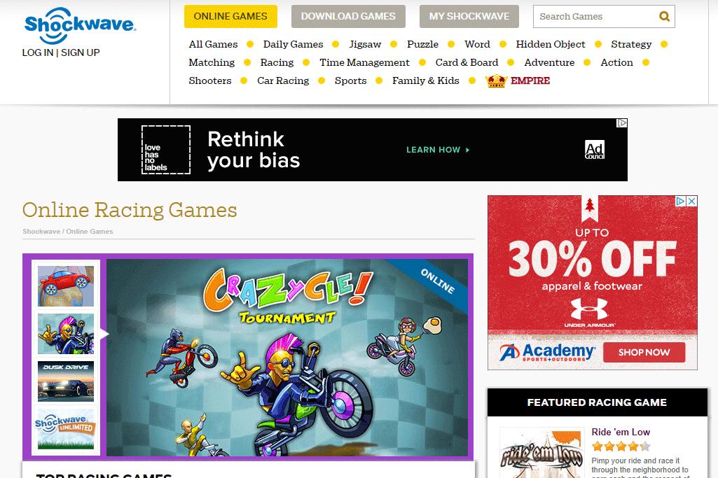 Free online racing games at Shockwave.com