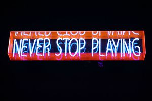 Neon sign from a PS Vita event