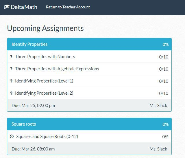 DeltaMath Assignments page