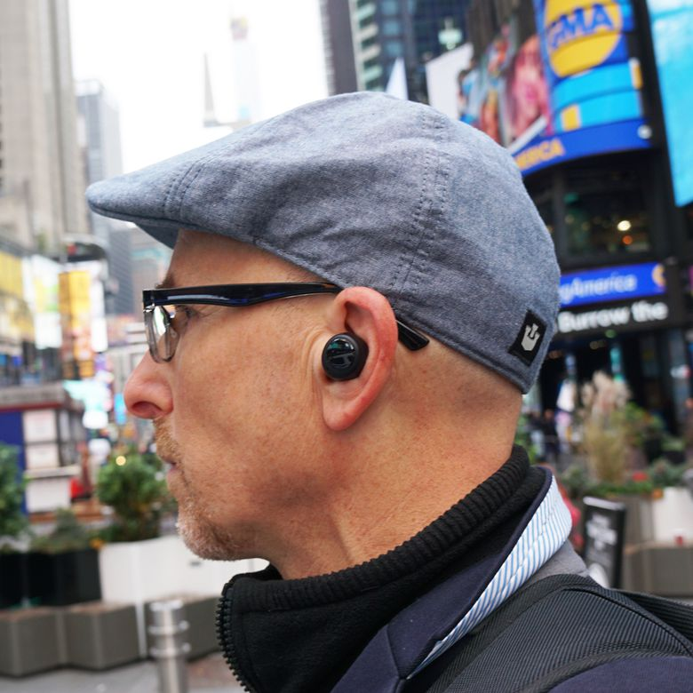 Lance Ulanoff wearing Amazon Echo Buds
