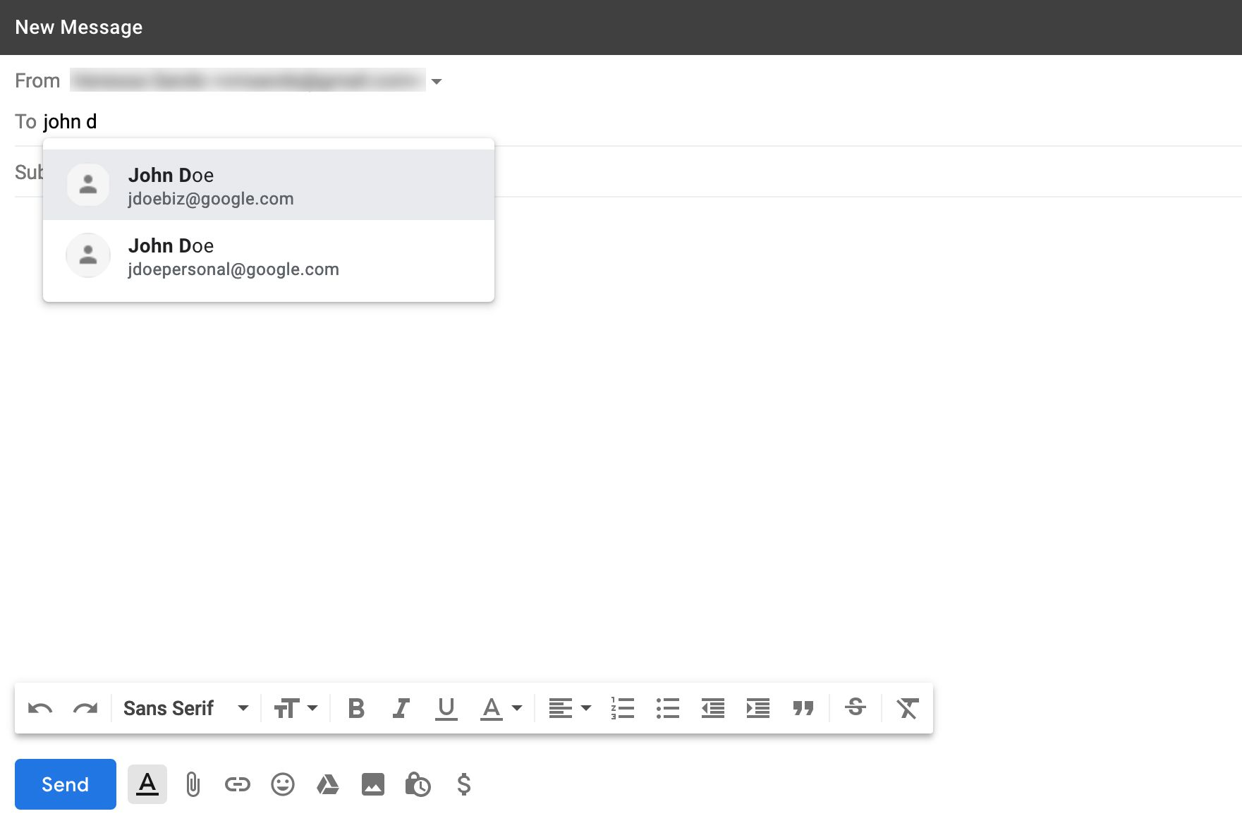 Gmail New Message window with dropdown To menu