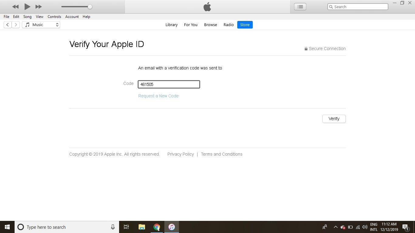 Enter the confirmation code and select Verify.