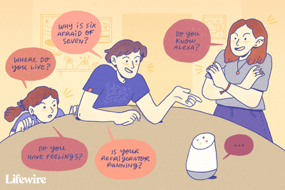 Illustration of kids asking Alexa funny questions, like