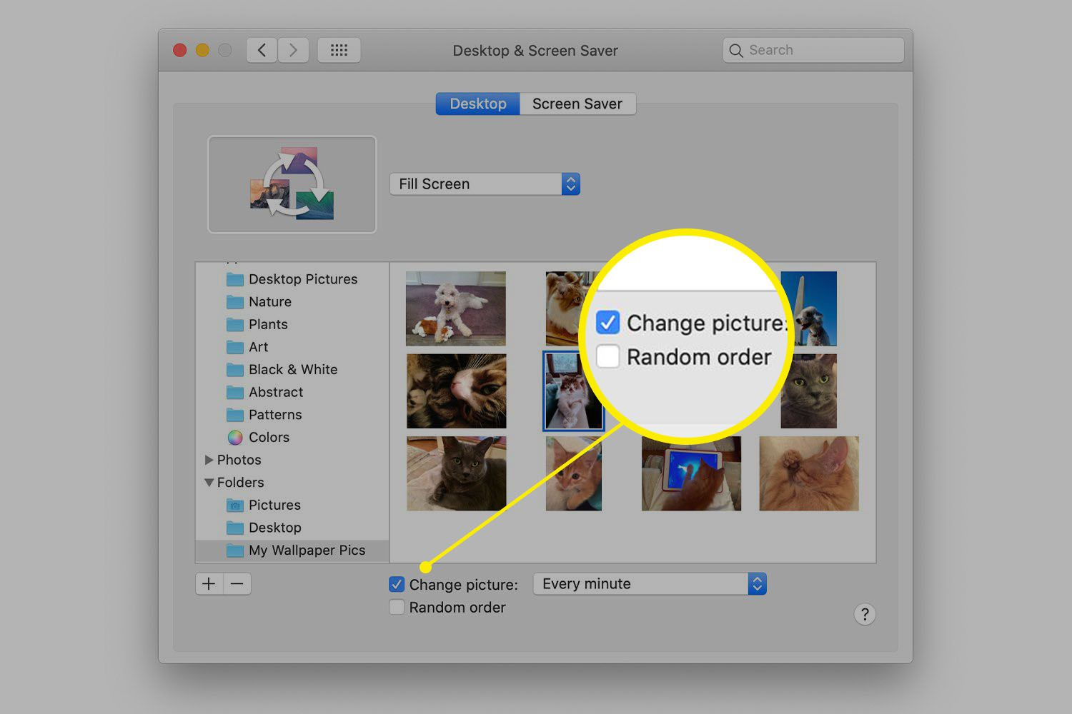 Change Picture setting in Desktop preferences on a Mac
