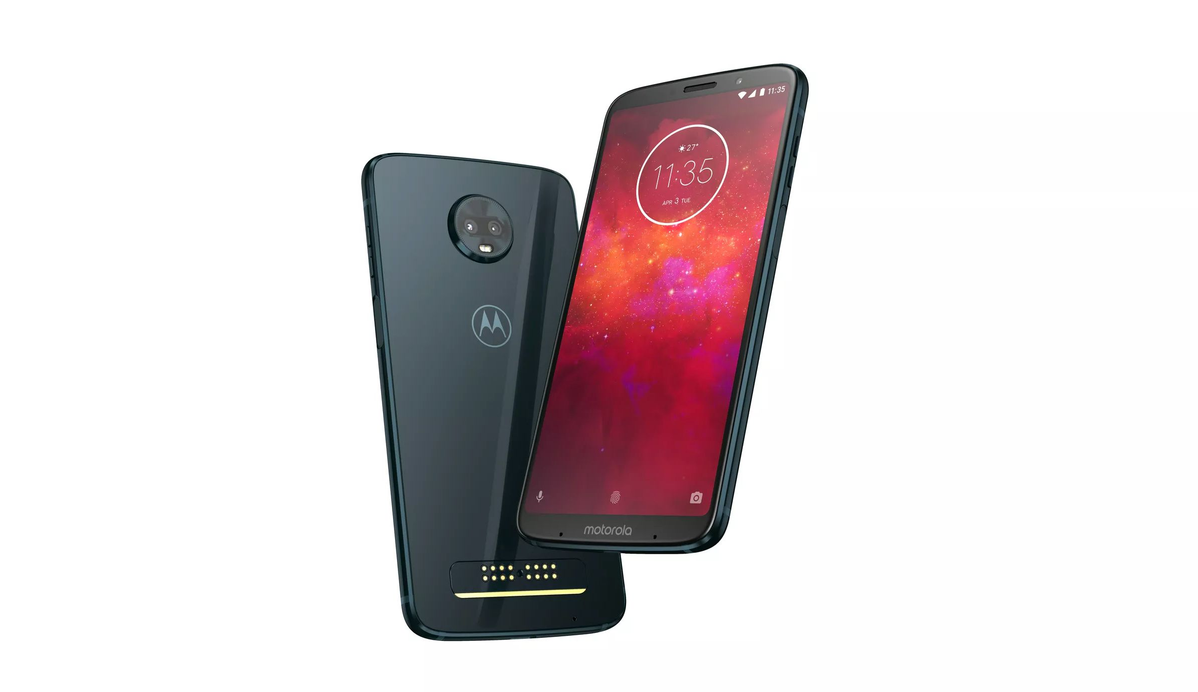 Moto Z3 smartphone from the front and back.