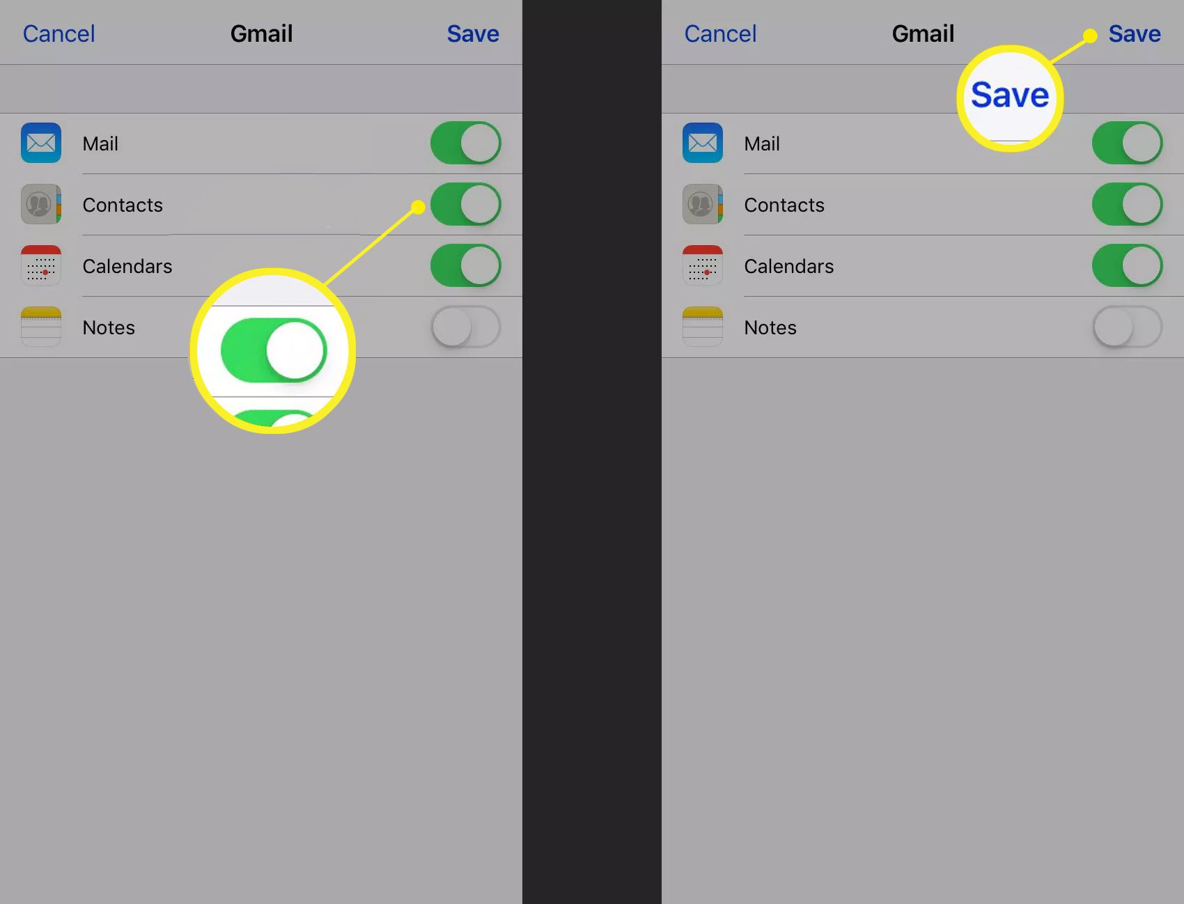 Syncing contacts with a Gmail account on iPhone