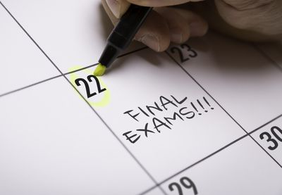 Circling date on calendar for Final Exams