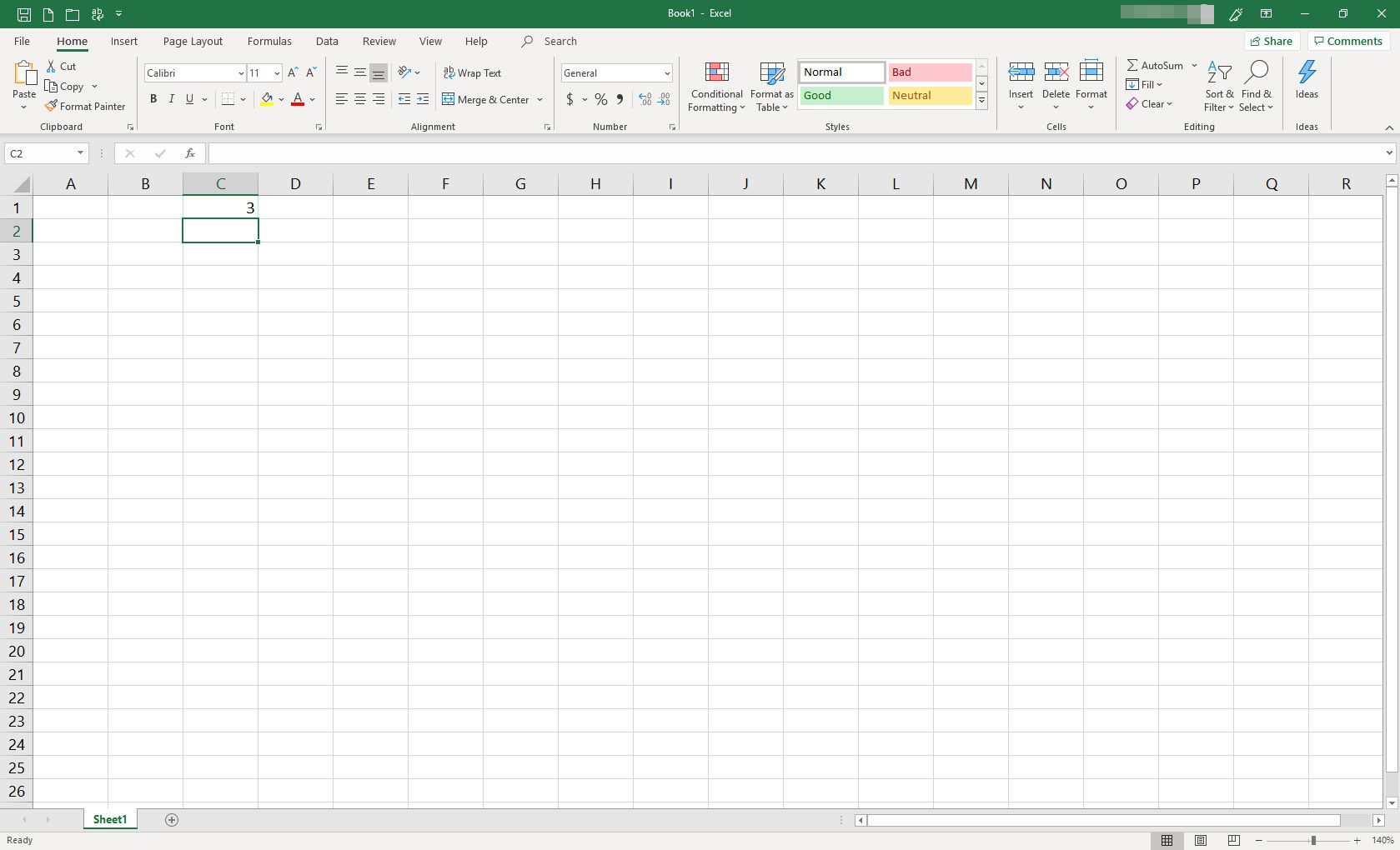 MS Excel spreadsheet with one cell populated with data
