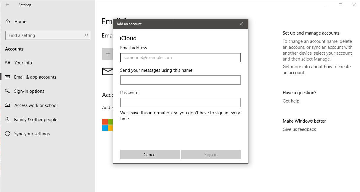 A screenshot of a user adding their iCloud account to Windows 10