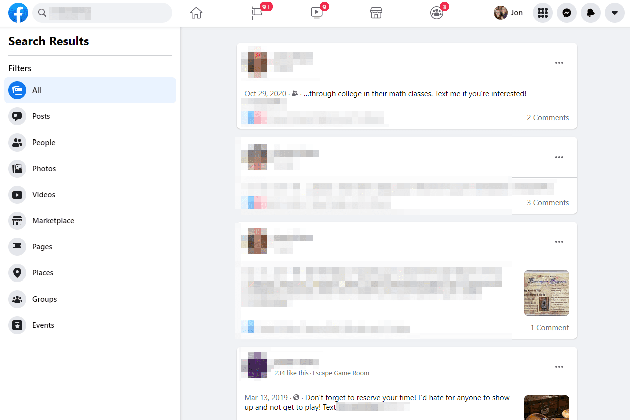 Facebook search for a phone number